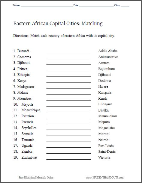 east africa capitals matching worksheet free to print