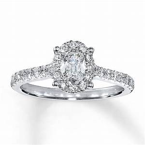 Jared diamond engagement ring 1 ct tw oval 14k white gold for Oval diamond wedding ring