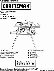 Craftsman 137218240 User Manual Table Saw Manuals And