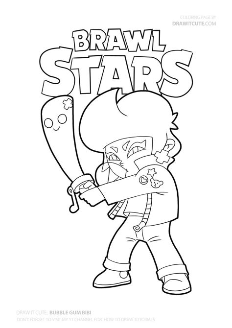 draw bouble gum bibi super easy brawl stars