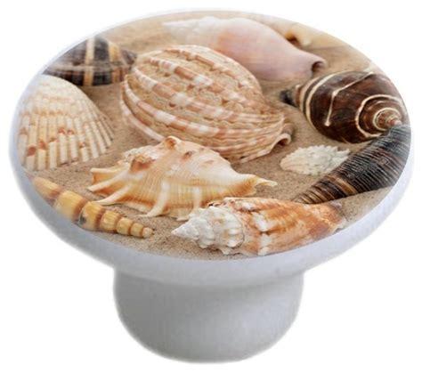 seashells on sand ceramic cabinet drawer knob beach