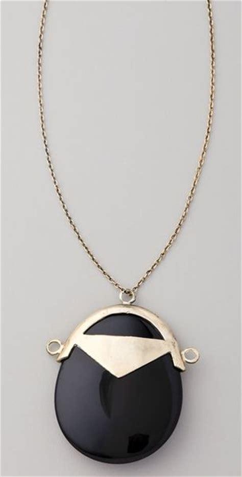 luv  erin wasson black jade pendant necklace  gold