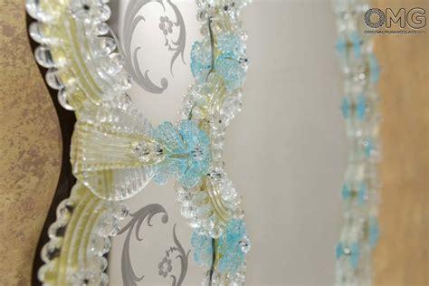 fiorenza venetian mirror light blue flowers