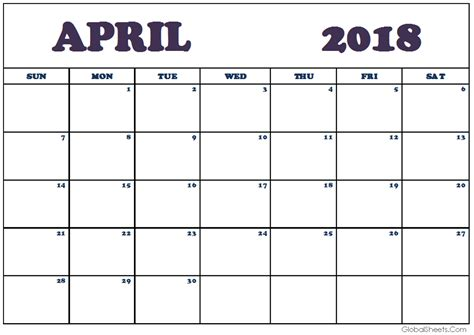 2018 monthly calendar template excel april 2018 calendar template free design