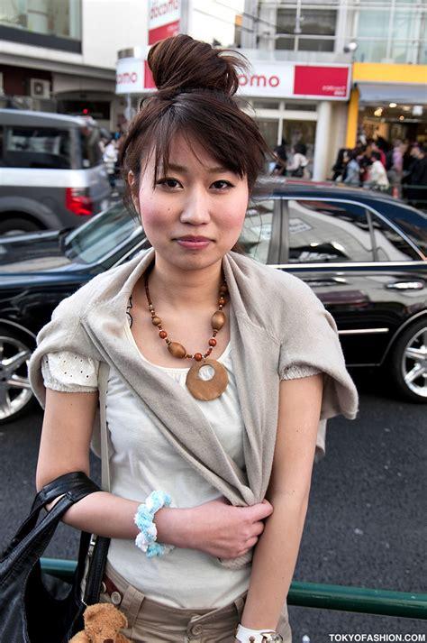 Japanese Glasses Girl & Large Hair Bun in Harajuku - Tokyo ...