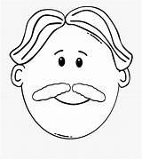 Coloring Clipart Daddy Moustache Beard Face Cartoon Transparent Netclipart sketch template