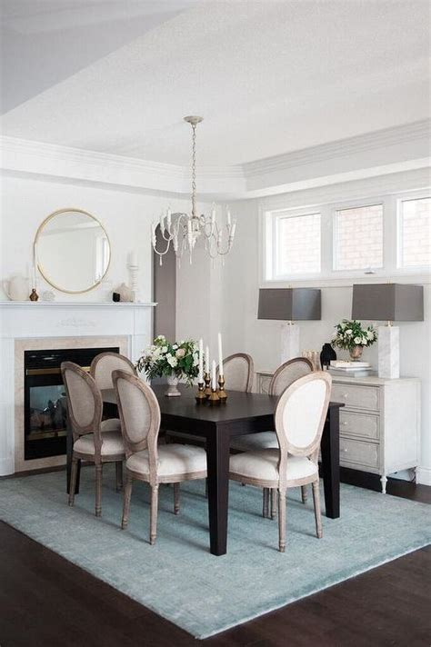 Brown And Blue Dining Room With Fireplace Transitional