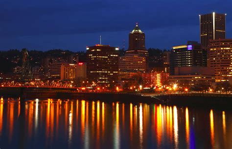 portland oregon at dusk with city lights photograph by