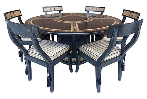 tessellated dining table matching chairs modernism