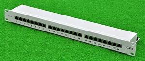 19 24ports Cat 6 Full Shielded Patch Panel White Grey