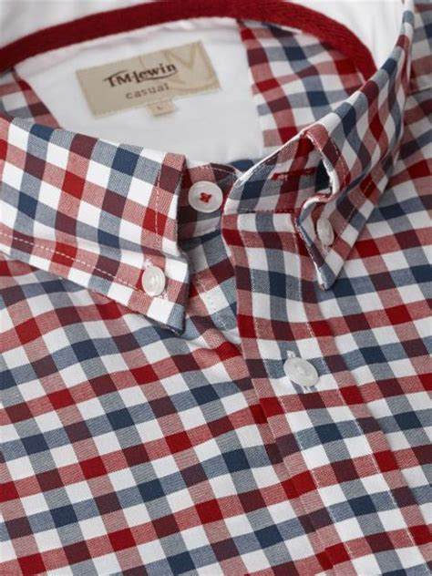 tm lewin red check casual shirt  blue  men red lyst