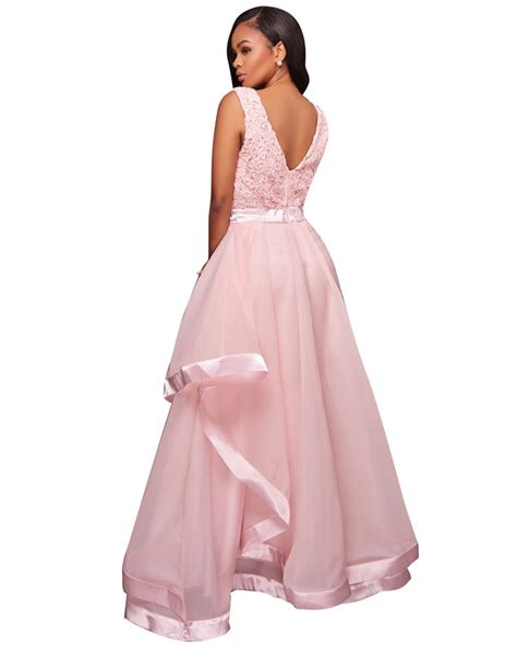 Ladies Pink Sleeveless Floral Lace Ball Gown Dresses Women