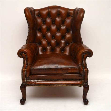 Large Antique Leather Wing Back Armchair Loveantiquescom