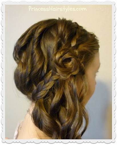 Side Swept Hairstyle Rose Braided Romantic Princess