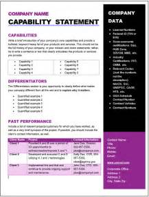 get started quickly capability statement editable