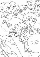Coloring Dora Diego Pages Printable Go 4kids sketch template