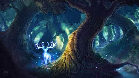 white deer fantasy abstract background wallpapers