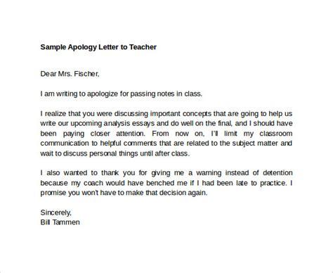apology letter  teacher reportwebfccom