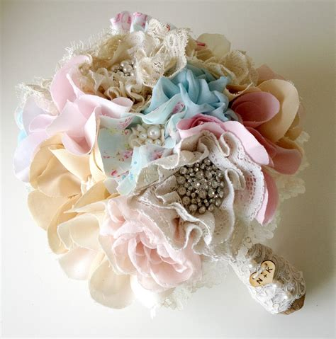shabby chic bridal bouquet items similar to fabric wedding bouquet shabby chic weddings blue bridal bouquet unique