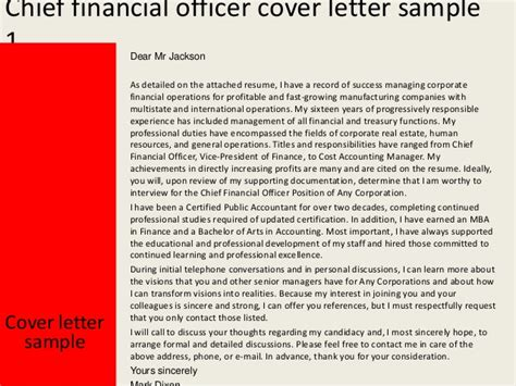 chief cover letter chief financial officer cover letter
