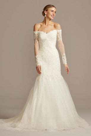 long sleeve   shoulder trumpet wedding dress david