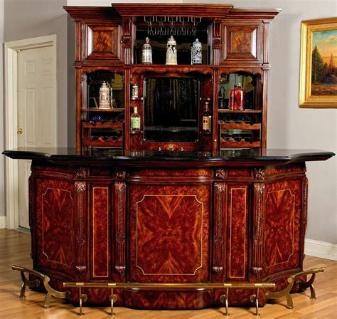 Bar Set by 8ft Mahogany Canopy Home Pub Bar W Mirrored Back