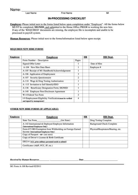 processing checklist printable