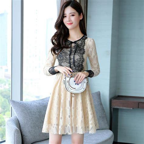 2017 autumn new lace dresses korean fashion o neck