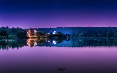 wallpaper purple reflections lake resort forest hd