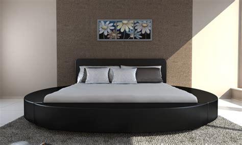 lit rond en cuir noir  cm  personnes avec matelas