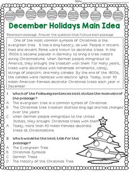 main idea and best title worksheets december holidays