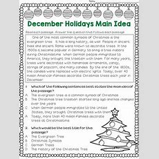 Main Idea And Best Title Worksheets December Holidays (test Prep