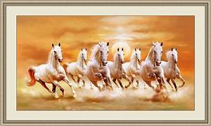 Vastu Seven Horses Painting Right Direction (With Frame on