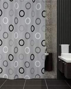 Duschvorhang Mit Foto : edler textil duschvorhang 120 x 200 cm grau mit schwarz weiss kreisen inkl ringe kaufen bei ~ Markanthonyermac.com Haus und Dekorationen