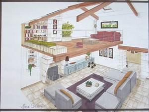 Amenagement Mezzanine Ouverte : salon mezzanine plans perspectives esquisses ~ Zukunftsfamilie.com Idées de Décoration
