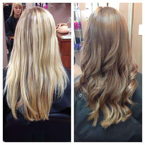 real life hair transformation blonde  brown