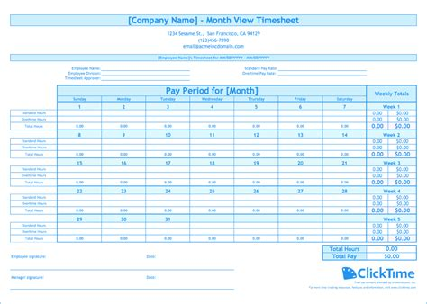 month template free monthly timesheet template clicktime