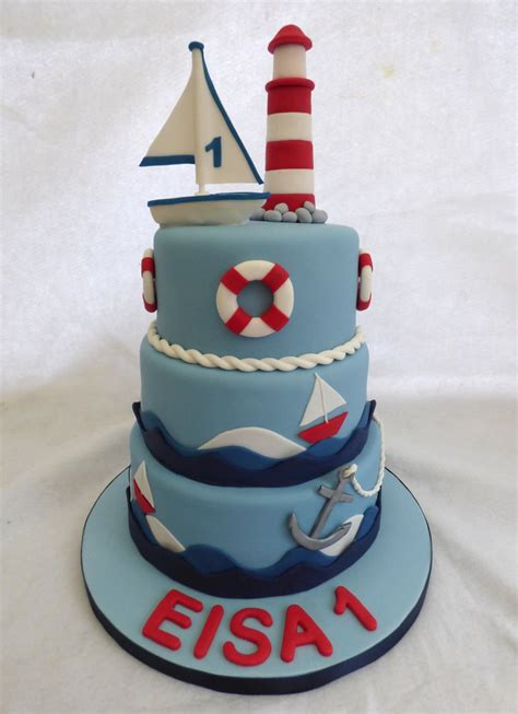 3 Tier Nautical Themed Birthday Cake With A Lighthouse