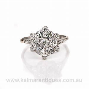 Art deco diamond cluster engagement ring for Diamond cluster wedding rings