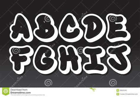 Graffiti Bubble Font : Graffiti Alphabet (part 1) Stock Vector. Illustration Of