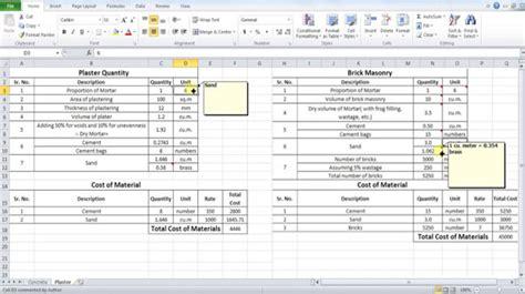 method  measurement  plastering excel based estimating