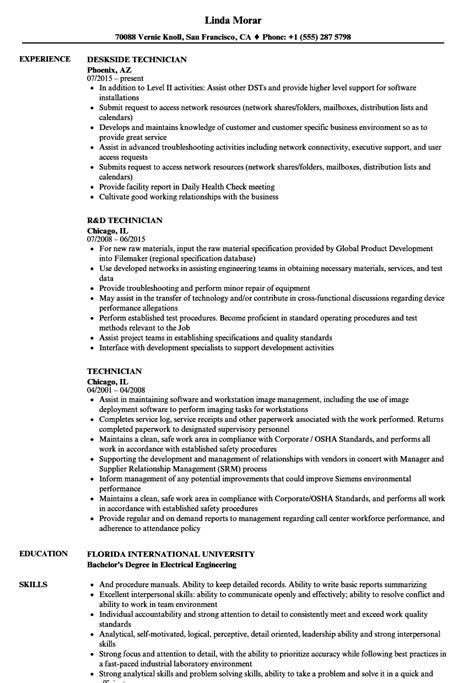 Resume R D by Technician Resume Sles Velvet