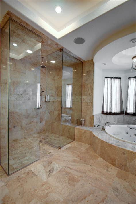 Cream River Travertine Tiles  Contemporary Bathroom