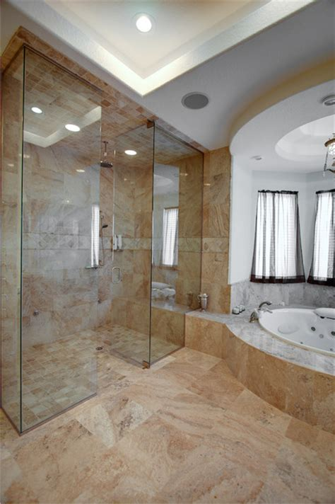 cream river travertine tiles contemporary bathroom
