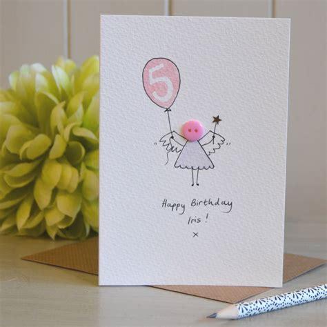 personalised button fairy handmade birthday card