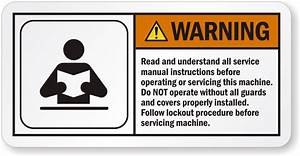 Understand All Service Manual Instructions Warning Label
