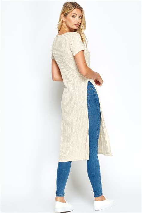 Slit Side Knit Top ribbed side slit top just 163 5