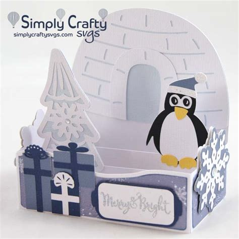 Shop at www.svgcuts.com jump to. Penguin Christmas Box Card SVG File - Simply Crafty SVGs