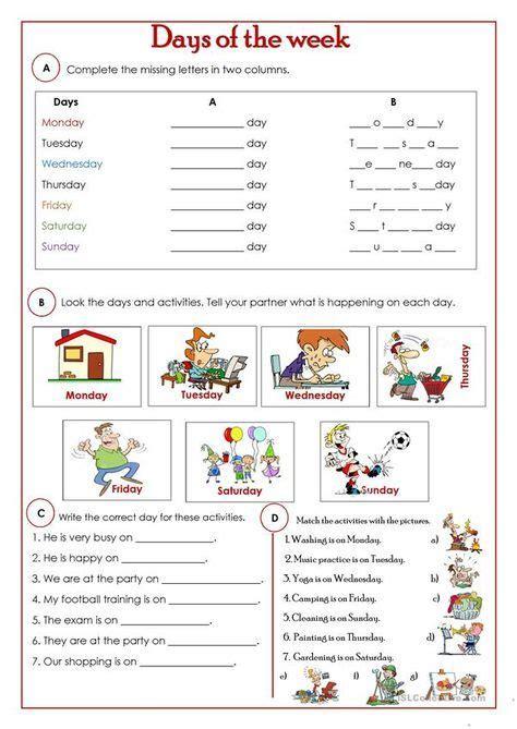 printable esl worksheets  elementary students