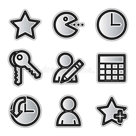 Iconos Del Web Del Vector Favoritos De Plata Del Contorno